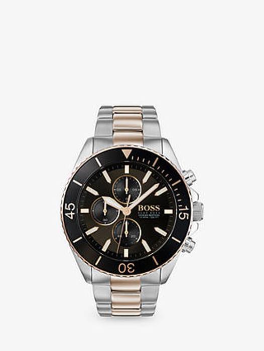 HUGO BOSS Men's Ocean Edition Chronograph Bracelet Strap Watch, Silver/Gold