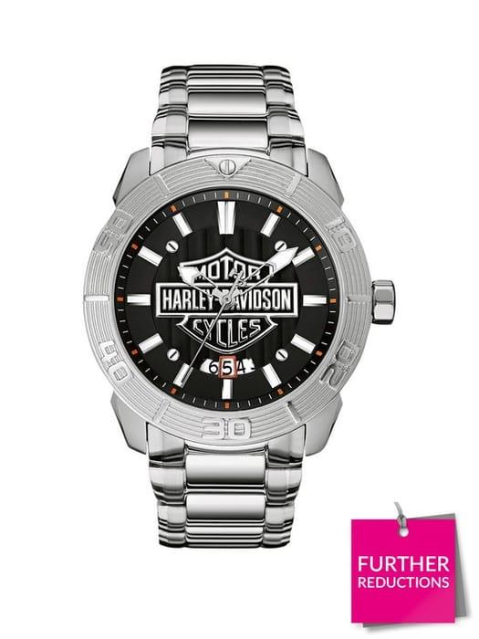 Harley Davidson by Bulova Black and Silver S/Steel Bracelet Mens Watch