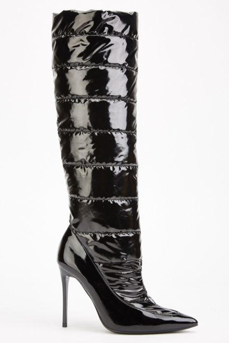 Knee High PVC Vinyl Quilted Boots