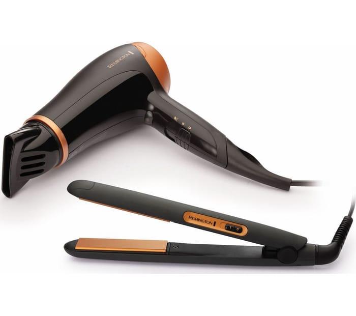 *SAVE £25* REMINGTON Hair Dryer & Hair Straightener Set - Black & Bronze