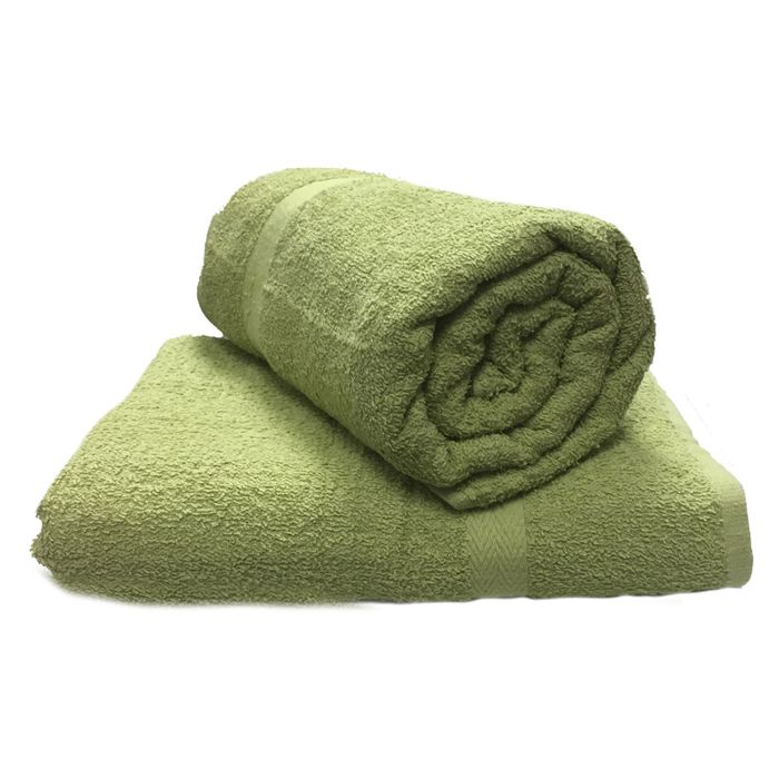 2 Large Cotton Soft Bath Towel Sheets - Olive on Sale From £10.99 to £6.59