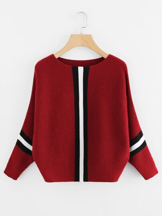 Contrast Striped Panel Ribbed Jumper
