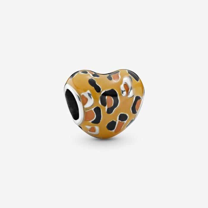 Leopard Print Heart Charm