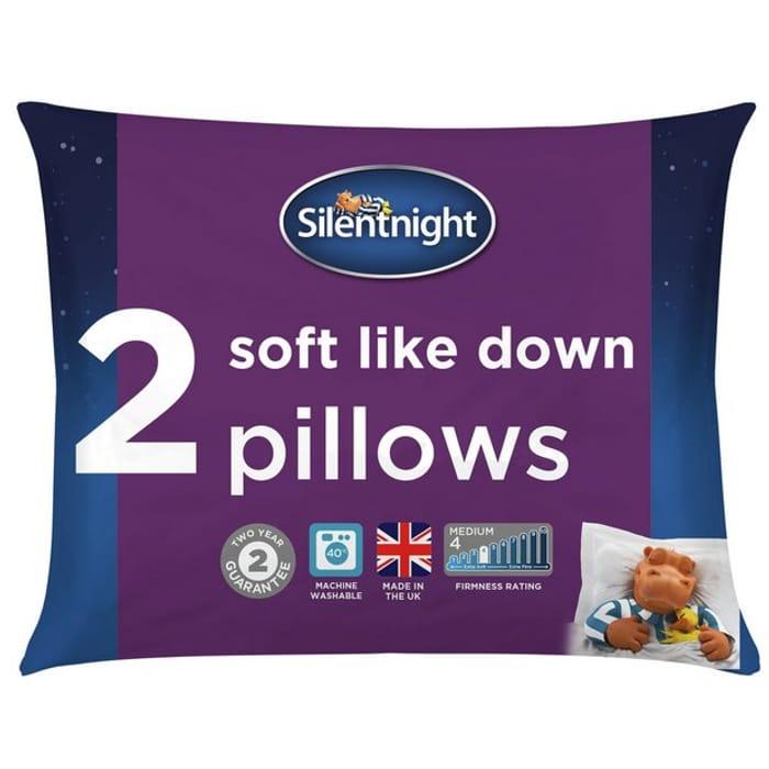 Silentnight Soft like down Medium/ Soft Pillow - 2 Pack - Save £4.67!