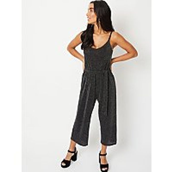 George Women's Black Glitter Effect Strappy Culotte Jumpsuit - HALF PRICE!