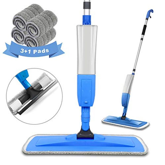 Spary Mop,Microfiber Mop with 4 Reusable Pads and 450ML Bottle