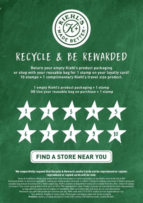 Free Travel Size Products When You Return Bottles to Kiehls
