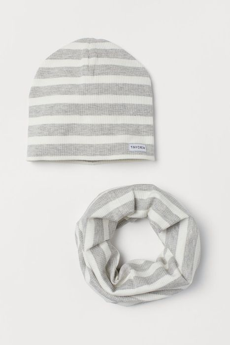Baby Jersey Hat and Tube Scarf - Light grey/White Striped