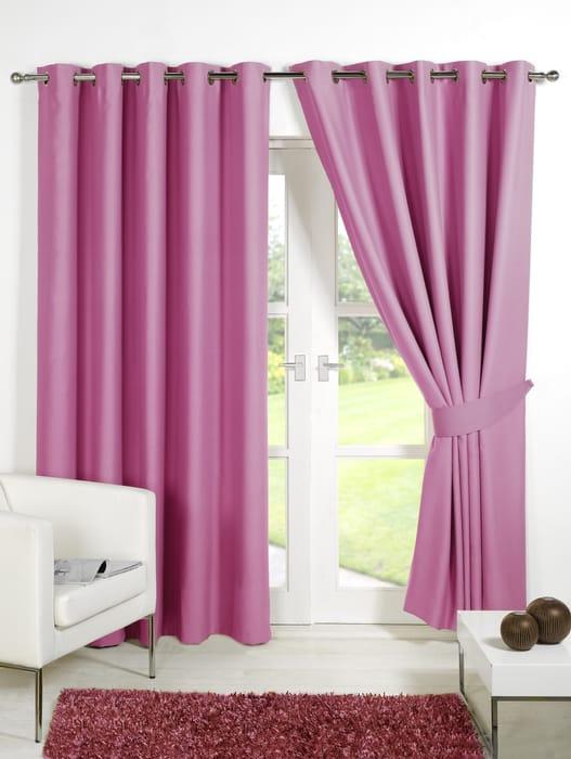 """Thermal Blackout Eyelet Curtains- Pink 90""""108"""""""