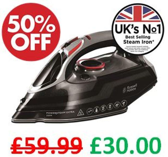 Cheap Russell Hobbs Powersteam Ultra Steam Iron 3100W - Save £29.99!