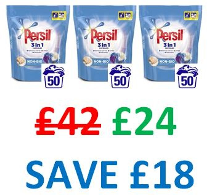 Persil 3-in-1 Non Bio Washing Capsules 150 Wash, 3 PACKS X 1350g