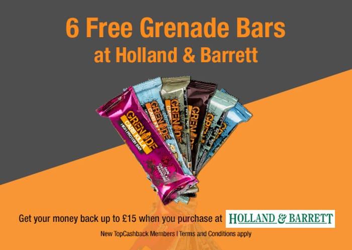 6 FREE Grenade Bars from Holland & Barrett ( TOP CASHBACK )