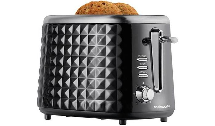 Cookworks Textured 2 Slice Toaster - Black Only £14.99