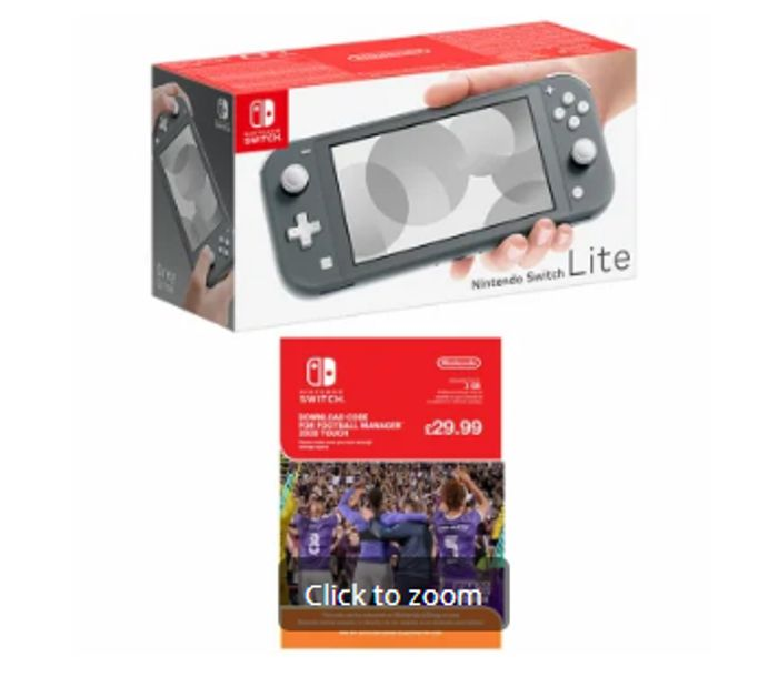 NINTENDO SWITCH LITE-GREY with FOOTBALL MANAGER TOUCH 2020 Only £209