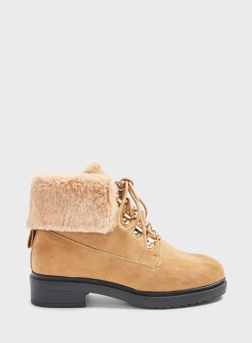 WIDE FIT BOSTON Tan Faux Fur Hiker Boots