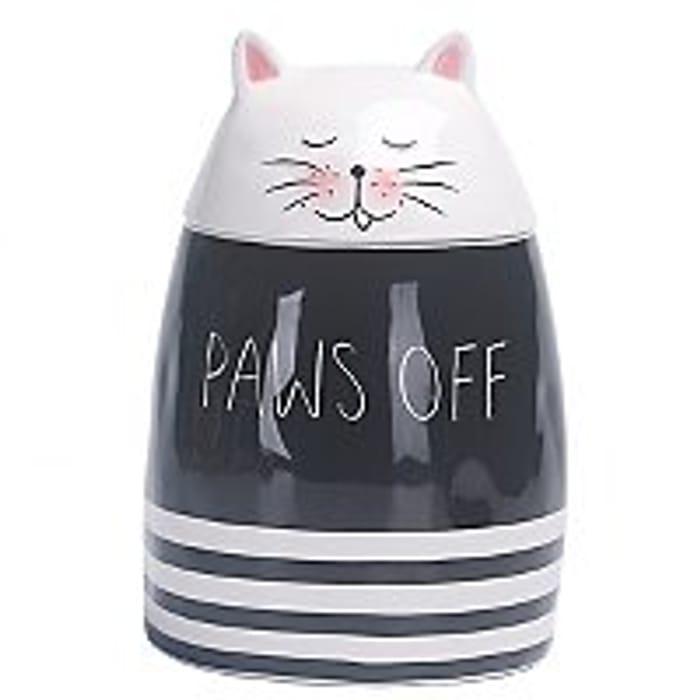 White Cat Paws off Slogan Jar - Save £4!