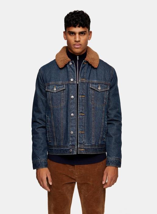 Raw Denim Jacket with Borg Collar