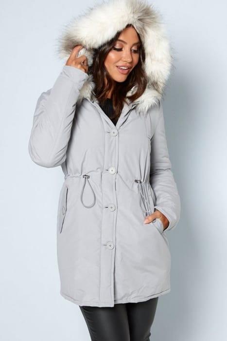 *HALF PRICE* Luxe Grey Faux Fur Trim Parka Sizes 10 > 24