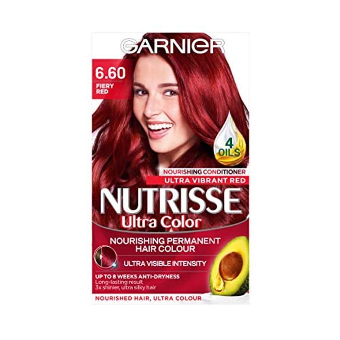 Garnier Nutrisse Red Hair Dye Permanent, up to 100% Grey Hair Coverage
