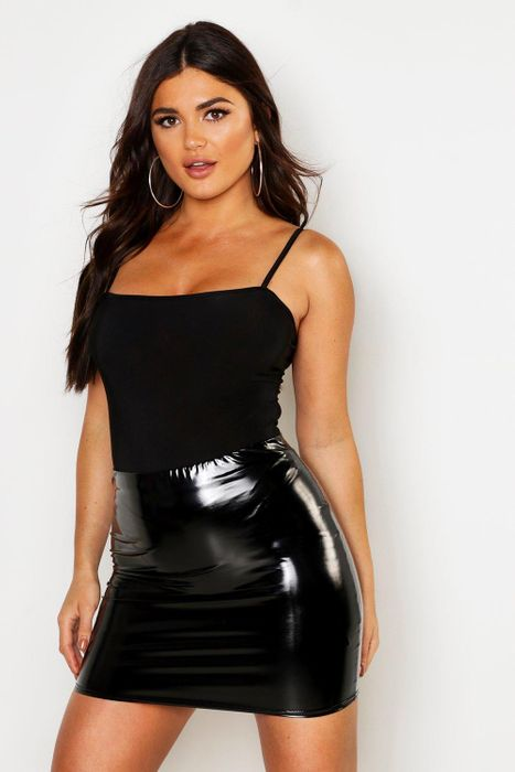 High Waist Vinyl Mini Skirt