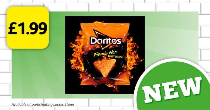 Flaming Hot, Tangy Cheese Doritos at £1.99