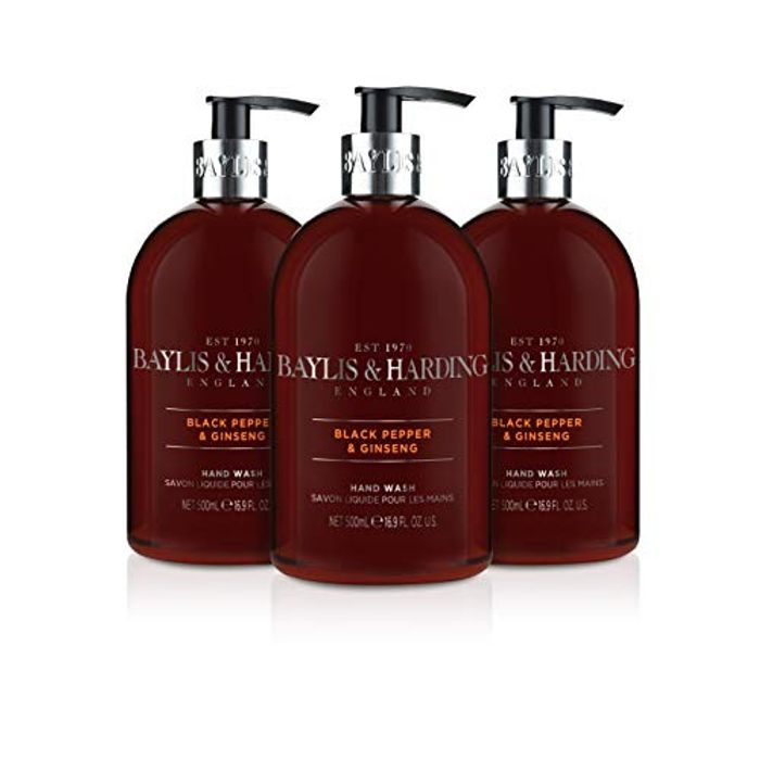 Baylis & Harding Black Pepper and Ginseng Hand Wash - Pack of 3 - Save £1.50!