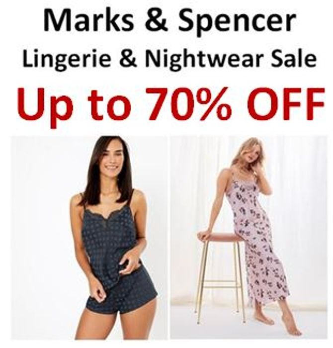 M&S Lingerie & Nightwear Sale - NOW up to 70% OFF