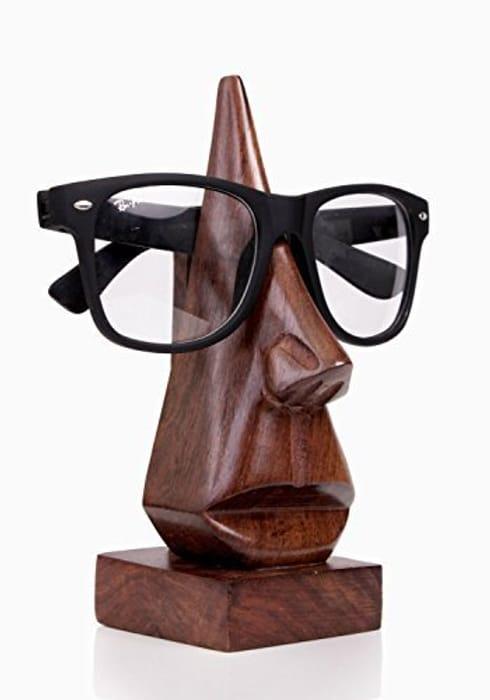 Storeindya Wooden Handmade Nose-Shaped Eyeglass Spectacle Holder