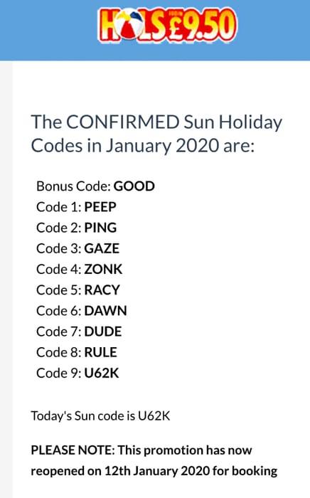 Sun £9.50 Holiday Codes (Read Description)