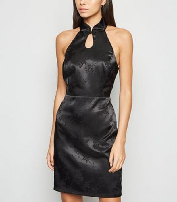 Black Satin Floral Jacquard High Neck Dress