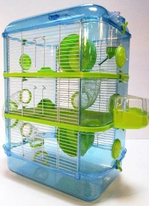Fantazia Plastic Large Dwarf Hamster Cage with Tubes - Blue & Lime
