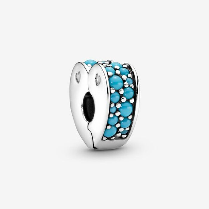 Blue Pav Heart Clip Charm