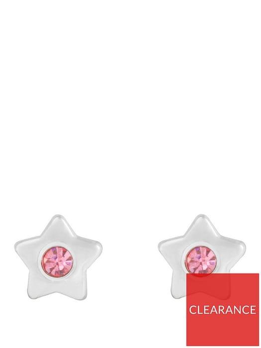 Sterling Silver & Pink Cubic Star Stud Children's Earrings
