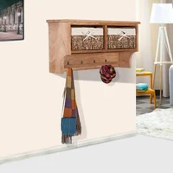 Wall Mounted Coat Hook Storage Unit W/3 Baskets-Brown