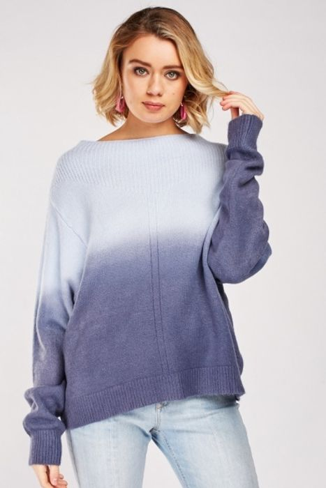Contrasted Neck Panel Ombre Jumper