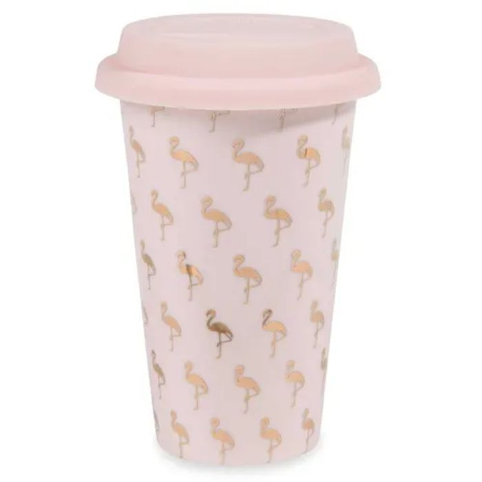 Pink Flamingo Print China Travel Cup