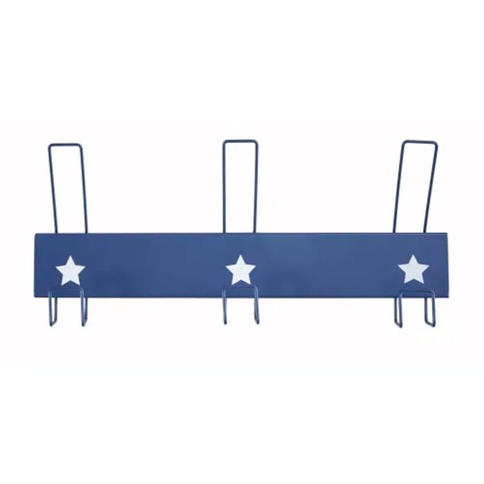 Blue Metal 3-Hook Coat Rack