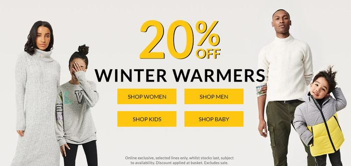 Extra 20% off Men's, Women's, Kids & Baby Winter Clothing at George