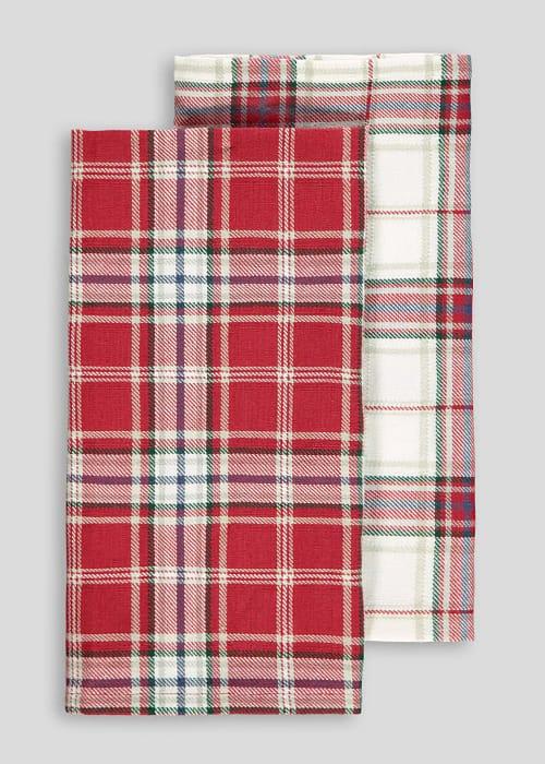 Tartan 2 Pack Tea Towels, Only £1.50!