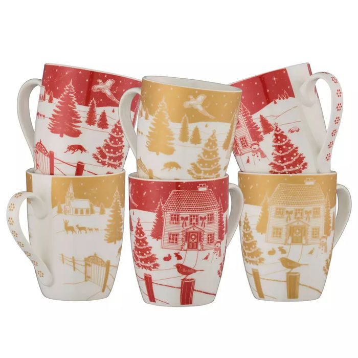 Aynsley China-Christmas in the Country Set of 6 Mugs in a Gift Box
