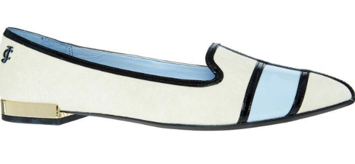 Juicy Couture White and Blue Striped Valley Flats