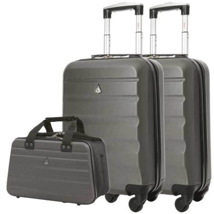 2 X Aerolite Hard Shell Cabin Cases & Hand Luggage Holdall Bag - £44