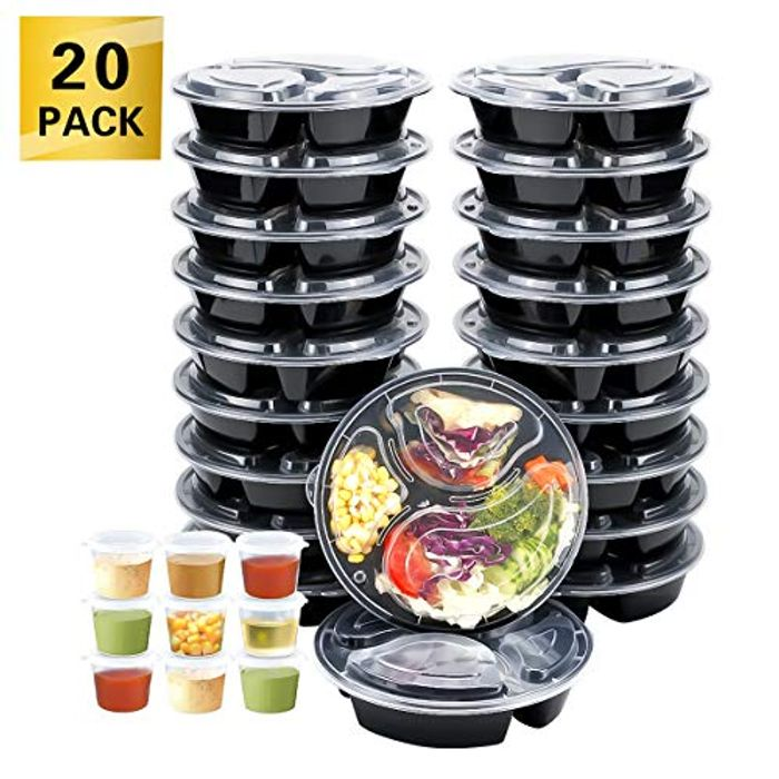 20 Meal Prep Containers with Lids, Forks, Sauce Pots & Lunch Bag