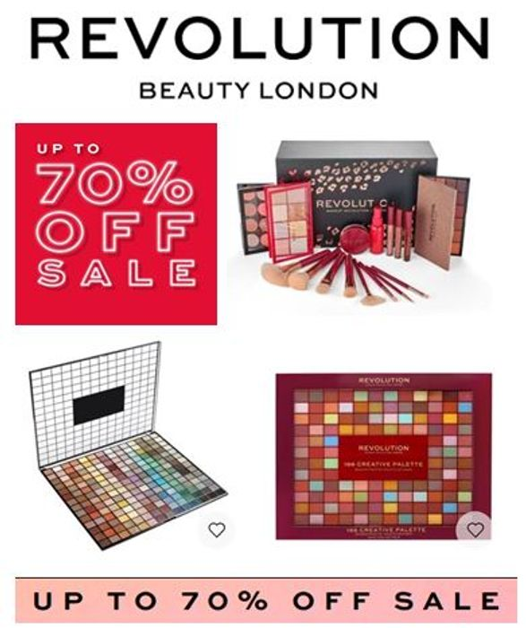 Special Offer - REVOLUTION BEAUTY - JANUARY SALE - up to 70% Discount