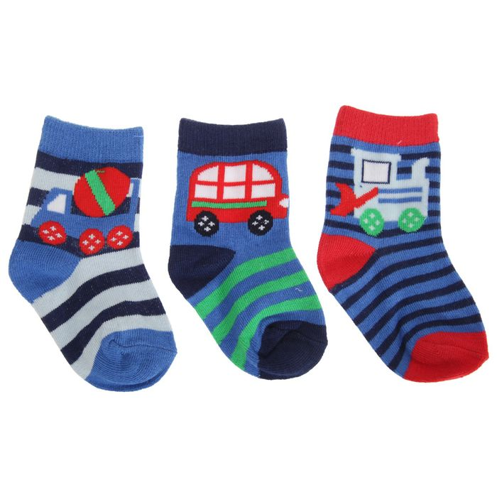 Baby Boys Cotton Rich Vehicle Design Set of 3 Pairs of Socks