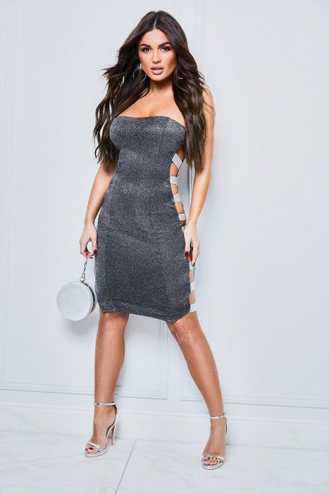 Sparkle Side Elastic Bandeau Midi Dress at boohoo - Only £11!