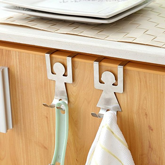 2Pcs Stainless Steel Lovers Shaped Hooks Kitchen Door 80% off + Free Delivery