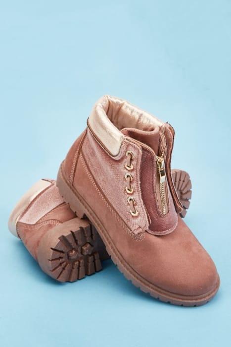 Textured Velveteen Contrast Ankle Boots HALF PRICE