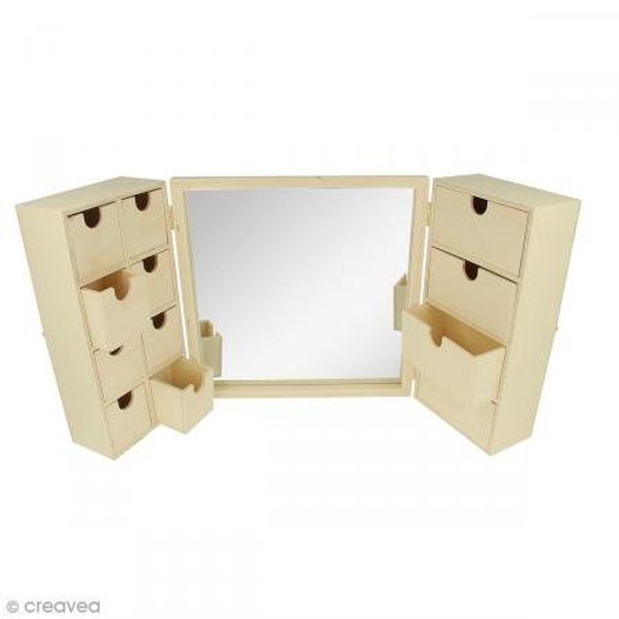 Wooden Dressing Table with Mirror, Beige, 26 X 8 X 26 Cm