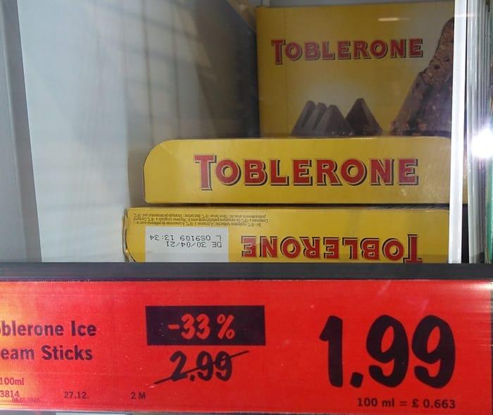 Toblerone Ice Cream Sticks £1.99 3 X 100ml